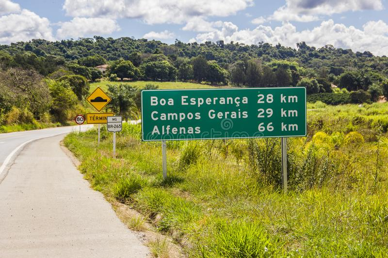 General fields brazil. Signaling board on the road to the city of general fields Minas Gerais Brazil stock image