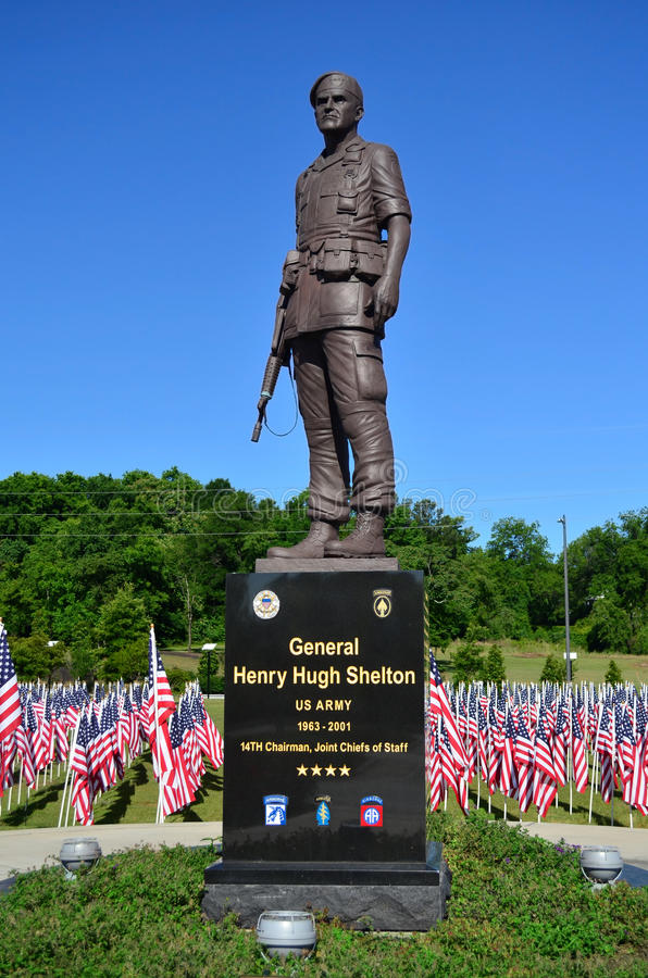 General Henry Hugh Shelton US Army Statue. Statue of General Henry Hugh Shelton a retired American career military officer of the United States Army from 1961 stock image