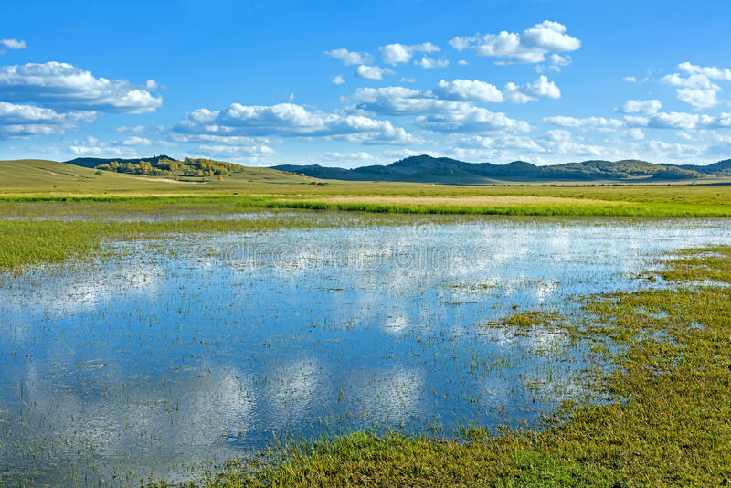 The general Lake in WulanBu all grassland ancient battlefield royalty free stock images