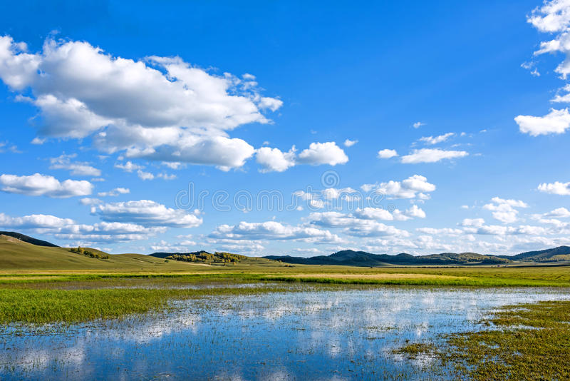 The general Lake in WulanBu all grassland ancient battlefield stock images