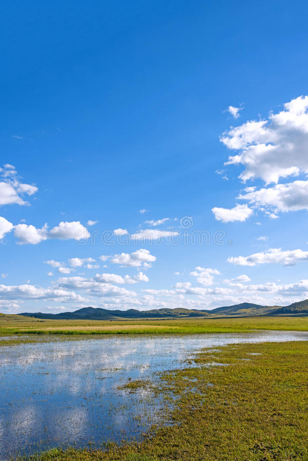 The general Lake in WulanBu all grassland ancient battlefield stock photography