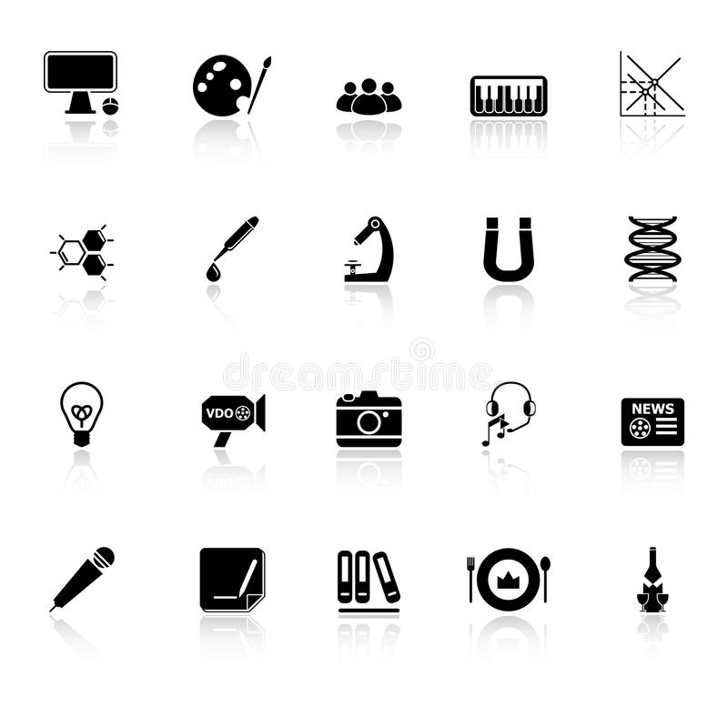 General Learning Icons With Reflect On White Backg Stock Photos