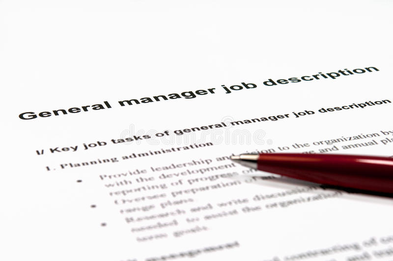 General Manager Job Description Stock Photo  Image Of Important