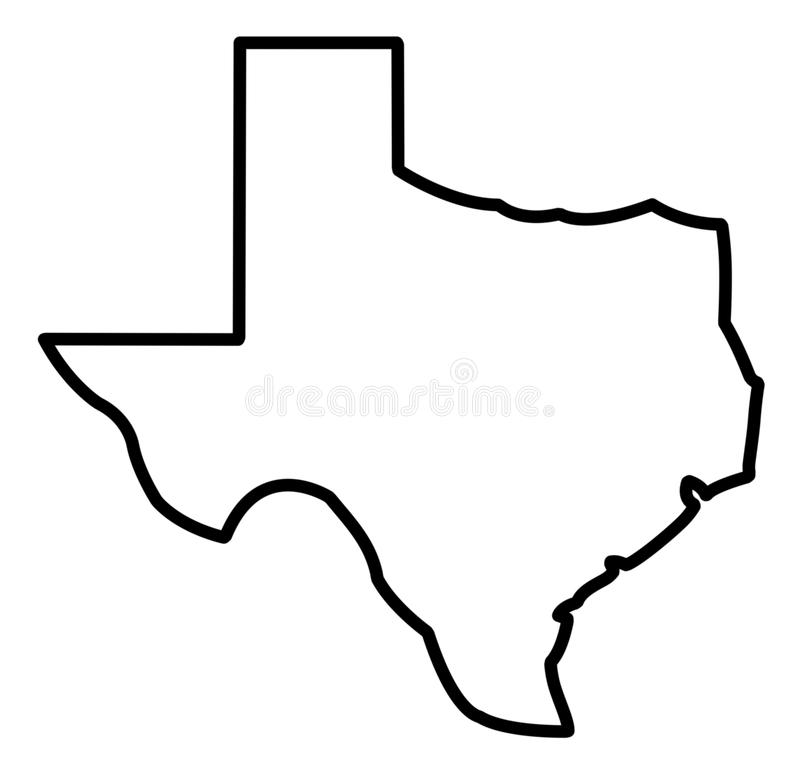 General Map of Texas. Illustration of general map of Texas