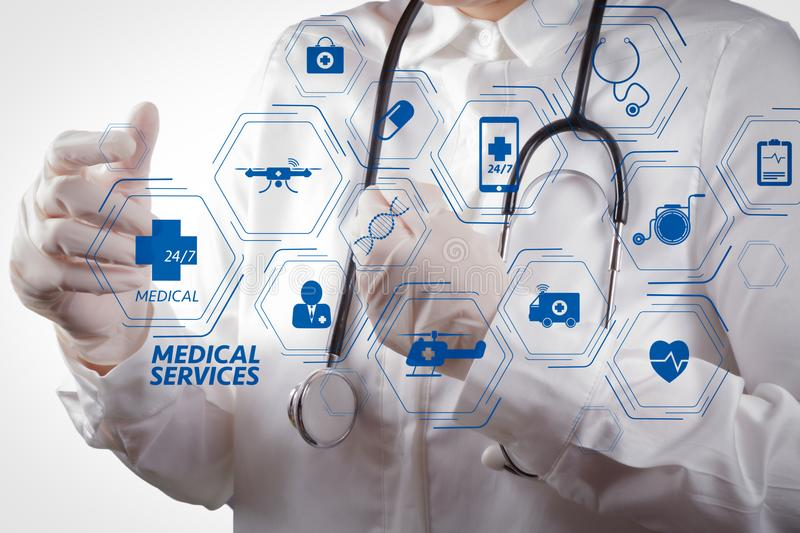 General Medical Services GMS and General PractitionersGPs or family doctors diagram. Smart doctor working with virtual screen in modern hospital royalty free stock photo