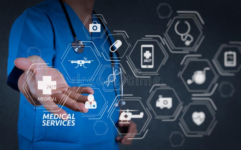 General Medical Services GMS and General PractitionersGPs or family doctors stock illustration