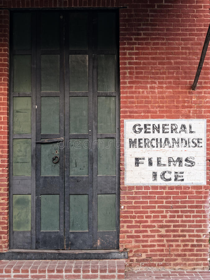 General merchandise store. Historic general merchandise store advertises film and ice royalty free stock image