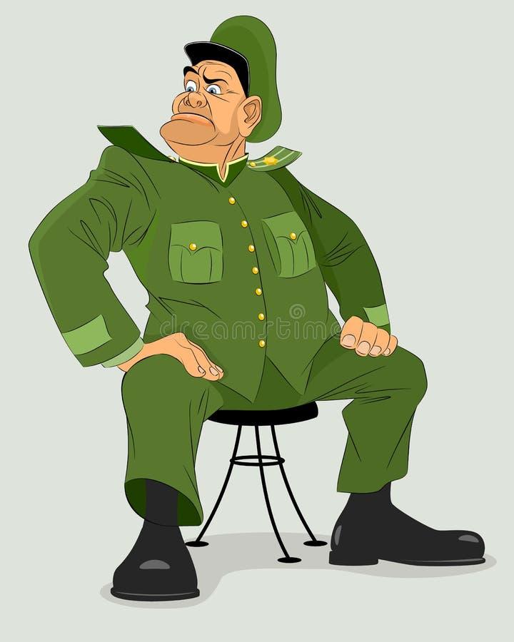 General militar na cadeira ilustração do vetor