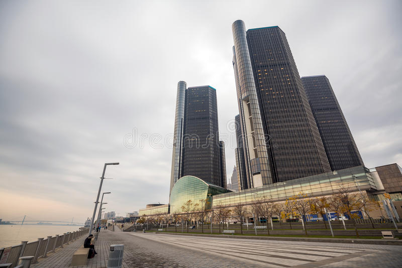 The General Motors Renaissance Center in Detroit Michigan stock photography