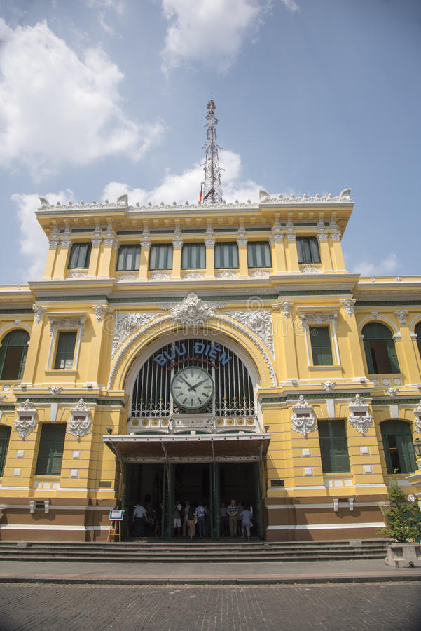 The General Post Office Ho Chi Minh City (Saigon). This building was designed by the French architect Gustave Eiffel, who also designed and built the tower in royalty free stock photo