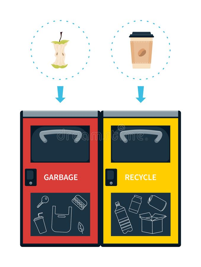 Garbage and recycle containers for waste vector illustration