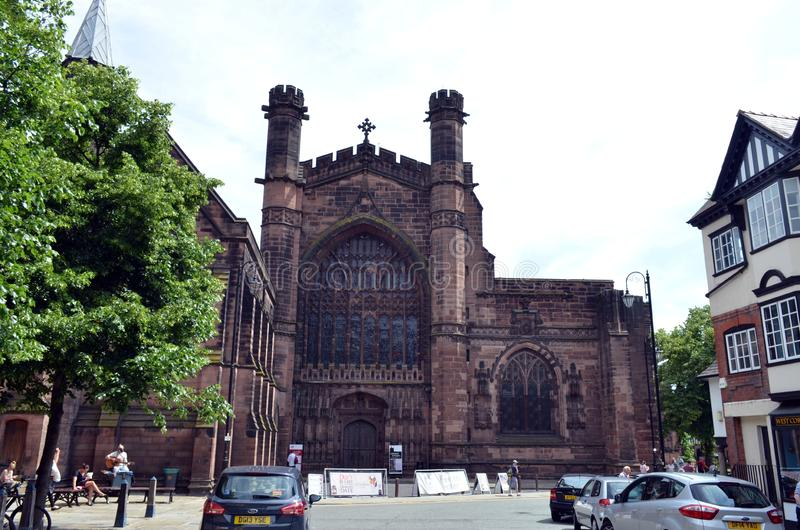 General scene of the well known city   Chester Chester, UK, July 3, 2015 stock image