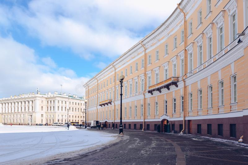 General Staff Building on Palace Square at frosty snow winter day in St. Petersburg, Russia.  royalty free stock photos
