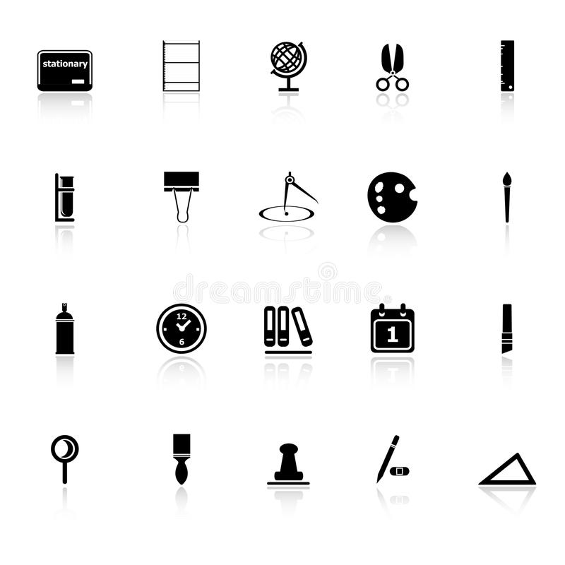 Download General Stationary Icons With Reflect On White Bac Stock Vector - Image: 38030094