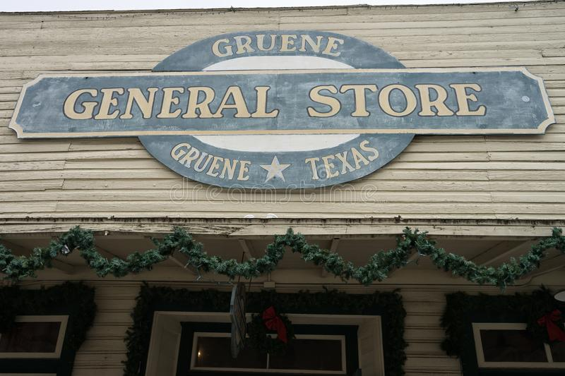 General store sign in Gruene Texas. January 1, 2016 Gruene, Texas: general store sign in the revived ghost town royalty free stock images