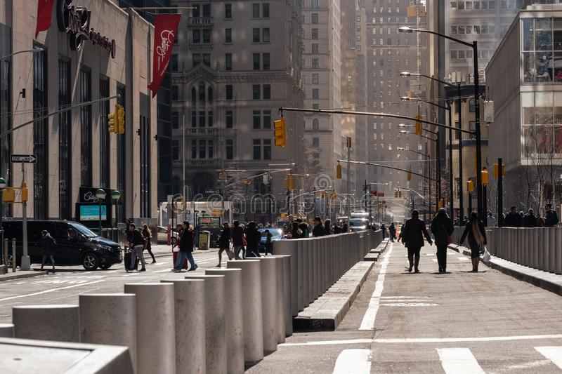 A general street view of World Trade Center area in Financial District Lower Manhattan New York City stock photo