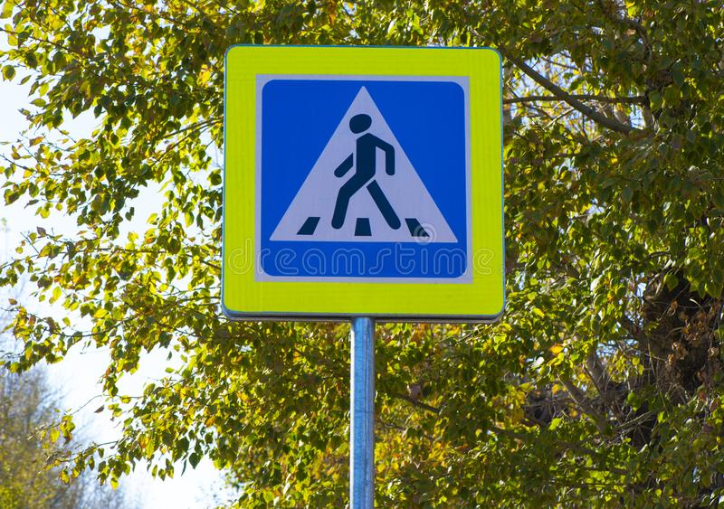 General traffic signs. Road sign pedestrian crossing on the roadway stock photo