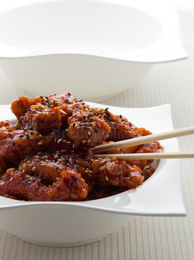 General tso chicken meal. General tso chinese chicken meal on white stock images