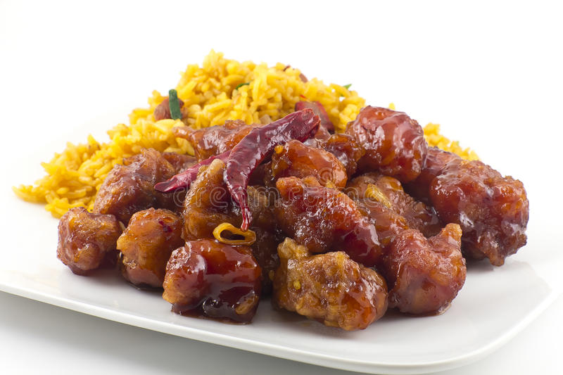 General Tso's Chicken. Hot and spicy General Tso's Chicken chinese food takeout royalty free stock image