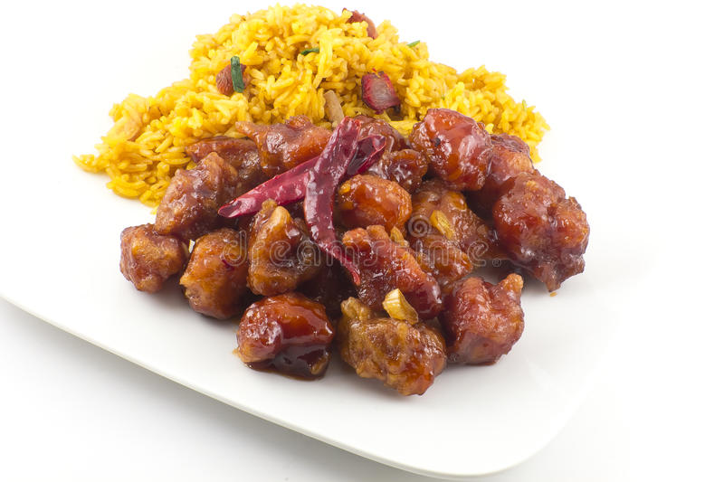 General Tso's Chicken. Hot and spicy General Tso's Chicken chinese food takeout stock photo