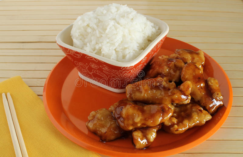 General Tso's Spicey Chicken with Rice royalty free stock photo