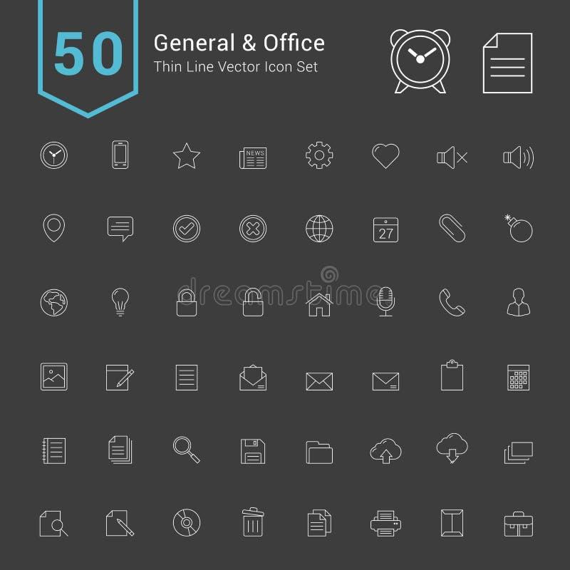 General-und Büro-Ikonen-Satz 50 dünne Linie Vektor-Ikonen lizenzfreie abbildung