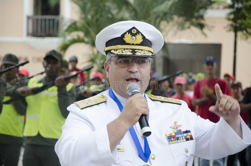 General Venezuelano Bolivarian em um ato da batalha de Carabobo fotos de stock