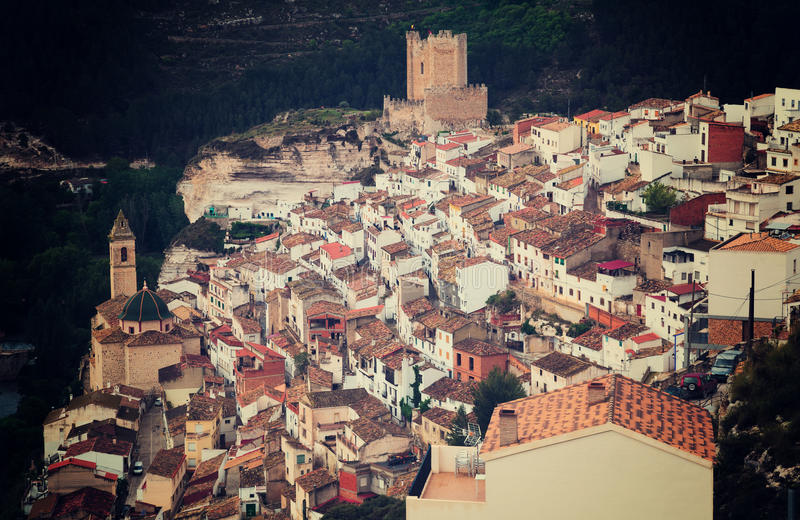 General view of Alcala del Jucar with castle. Province of Albacete, Spain stock image