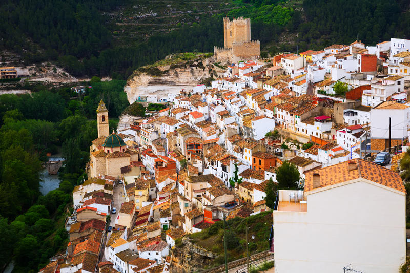 General view of Alcala del Jucar. Province of Albacete royalty free stock photo