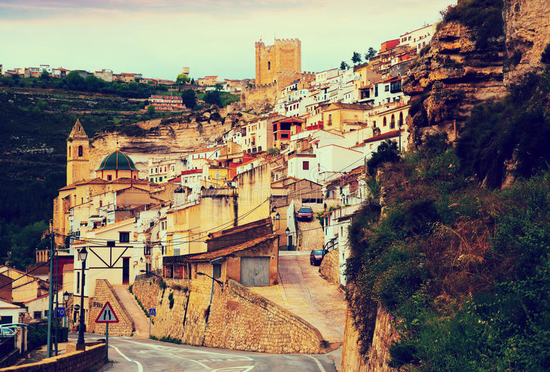 General view of Alcala del Jucar. Province of Albacete, Spain stock photography
