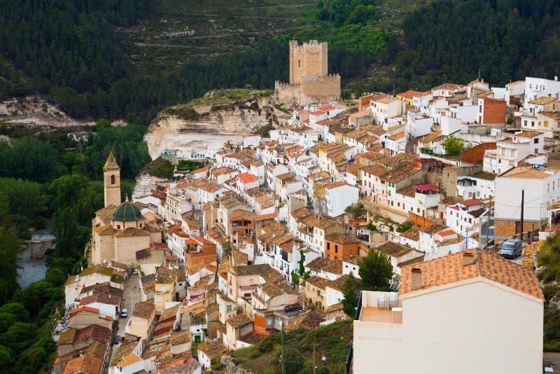 General view of Alcala del Jucar. Spain stock photos