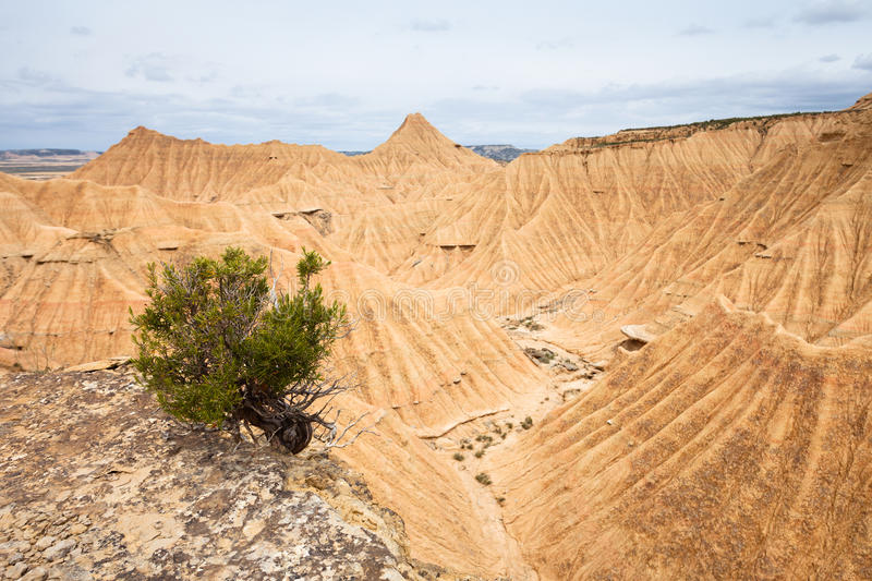 General view of Bardenas Reales, Navarra, Spain. The Bárdenas Reales is a semi-desert natural region, or badlands, of some 42,000 hectares (100,000 acres) in royalty free stock image