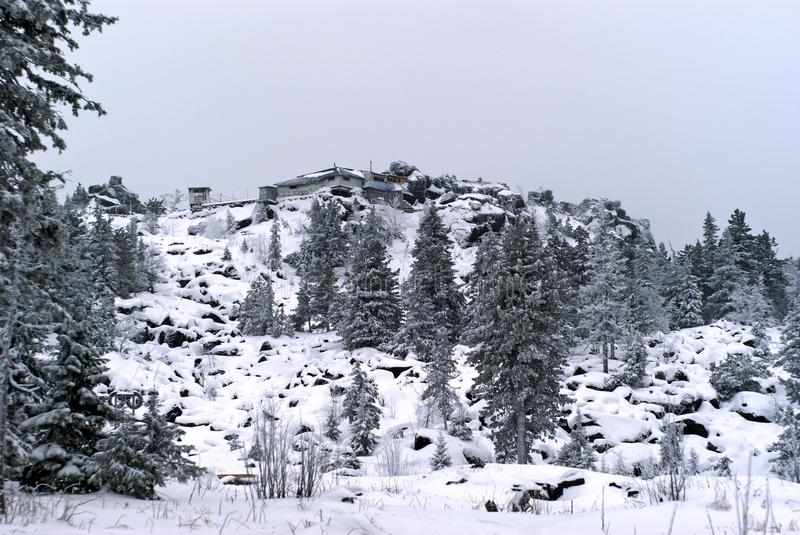 General view from below to the Buddhist monastery of Shad Tchup Ling in the Ural Mountains. KACHKANAR, RUSSIA - JANUARY 09, 2018: general view from below to the royalty free stock photo