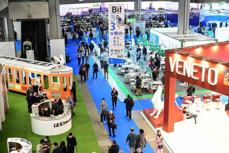A general view of BIT, the  International Tourism Fair stock image
