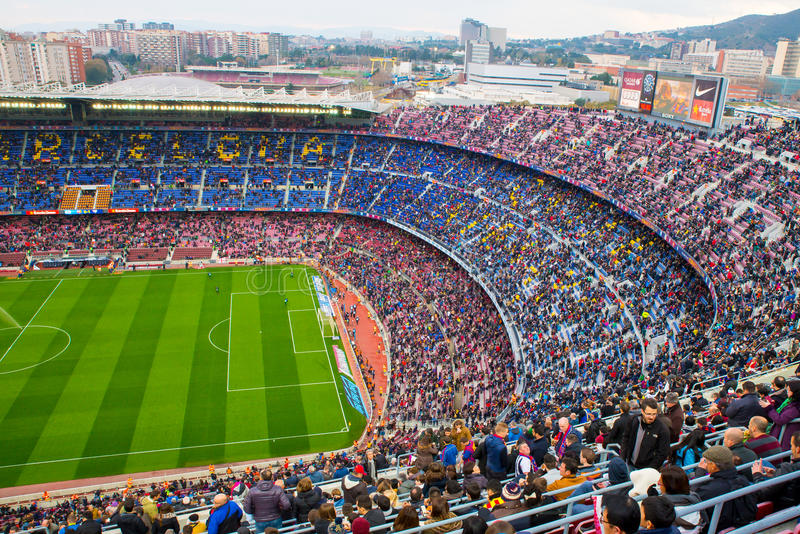 A general view of the Camp Nou Stadium in the football match. BARCELONA - FEB 21: A general view of the Camp Nou Stadium in the football match between Futbol royalty free stock images