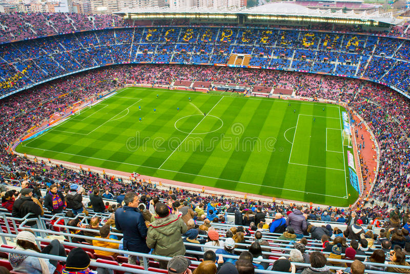 A general view of the Camp Nou Stadium in the football match between Futbol Club Barcelona and Malaga. BARCELONA - FEB 21: A general view of the Camp Nou Stadium royalty free stock photography