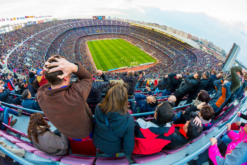 A general view of the Camp Nou Stadium in the football match between Futbol Club Barcelona and Malaga. BARCELONA - FEB 21: A general view of the Camp Nou Stadium royalty free stock images