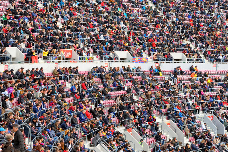 A general view of the Camp Nou Stadium in the football match between Futbol Club Barcelona and Malaga. BARCELONA - FEB 21: A general view of the Camp Nou Stadium royalty free stock photo
