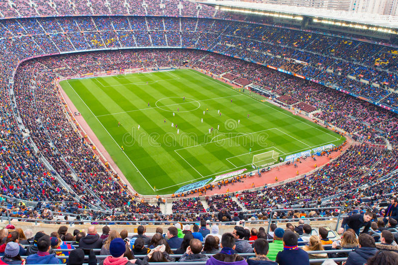 A general view of the Camp Nou Stadium in the football match between Futbol Club Barcelona and Malaga. BARCELONA - FEB 21: A general view of the Camp Nou Stadium royalty free stock image