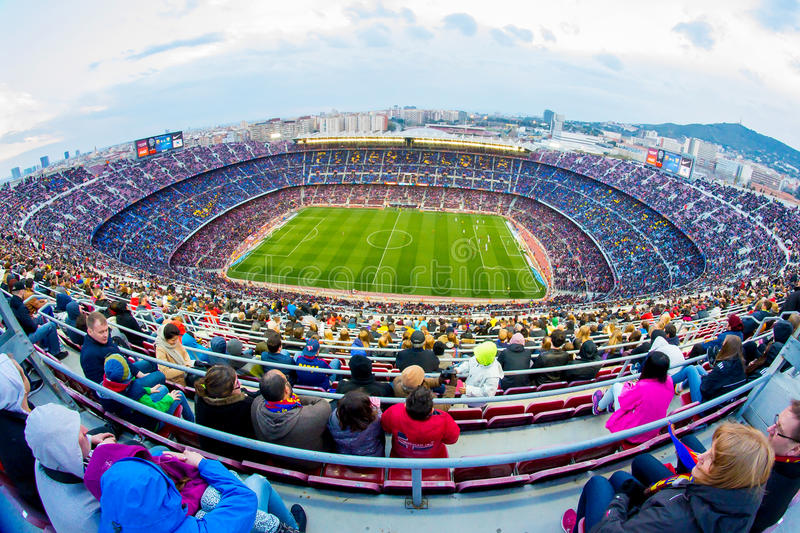 A general view of the Camp Nou Stadium in the football match between Futbol Club Barcelona and Malaga. BARCELONA - FEB 21: A general view of the Camp Nou Stadium stock photo