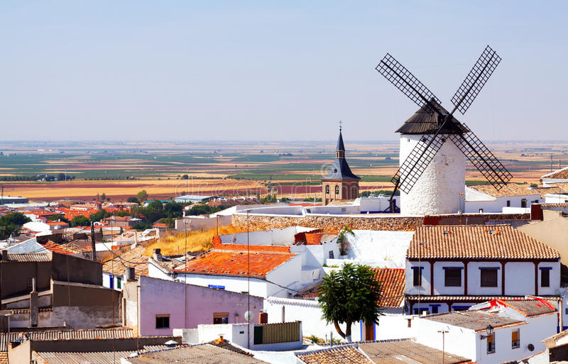 Download General View Of Campo De Criptana With Mill And Church Stock Image - Image: 33760171