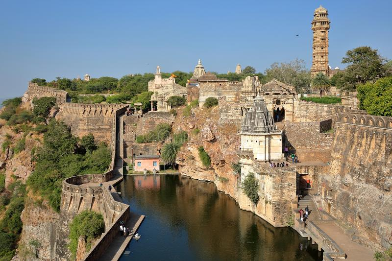 General view of Chittorgarh Fort Garh with the Tower of Victory, the ramparts and Hindu temples, Chittorgarh, Rajasthan, India. General view of Chittorgarh Fort royalty free stock images