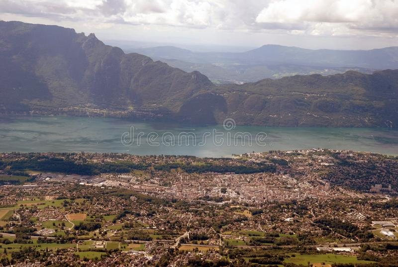 City of Aix les Bains and Lake Bourget. General view of the city of Aix les Bains and Lake Bourget in the French Alps stock photography