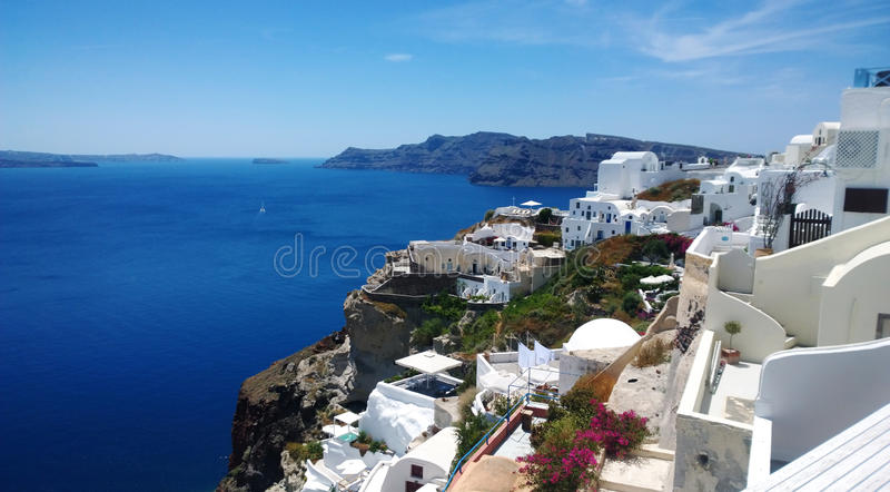 General view of the coastal part of Oia on Santorini island stock photography
