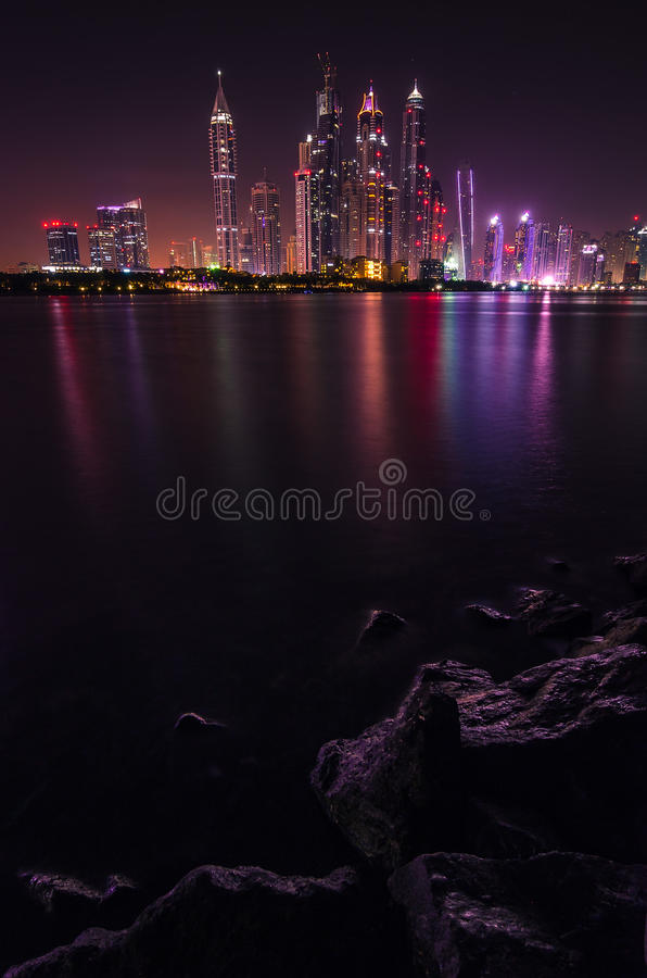 General view of the Dubai Marina at night stock photography