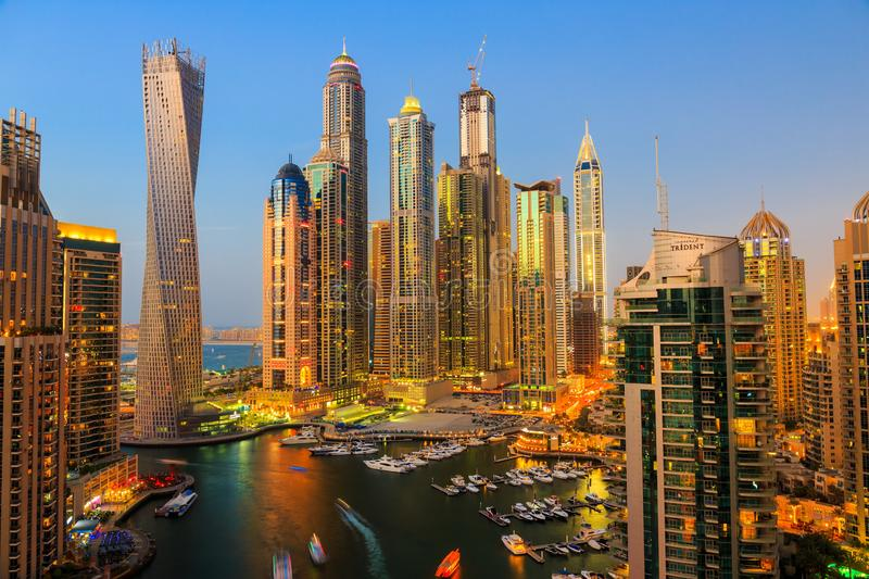 General view of Dubai Marina at night from the top stock images
