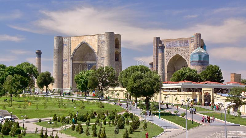 General view of an esplanade with the Registan and Bibi Khanum mosque in Samarkand royalty free stock image