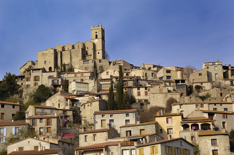 General view of Eus, Pyrenees-Orientales, Languedoc-Roussillon, Fr stock photography