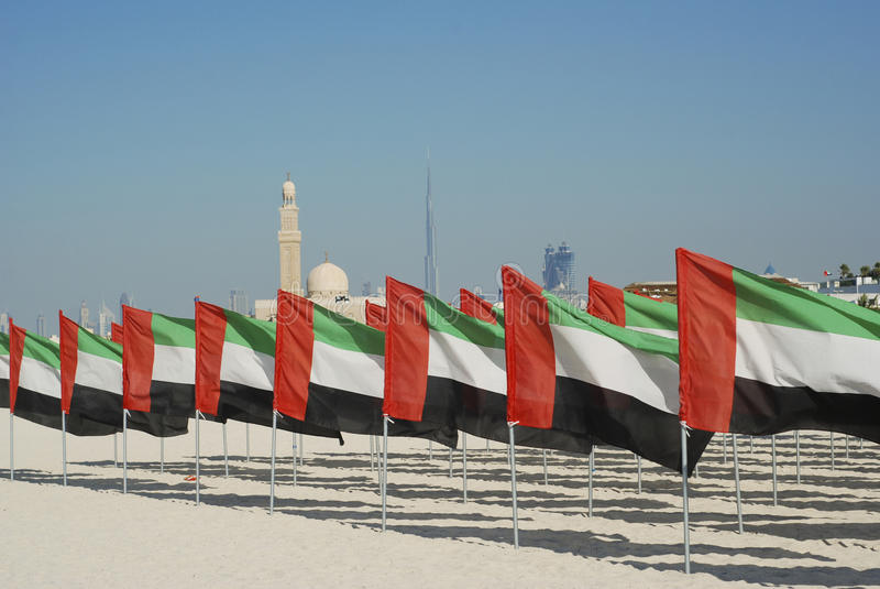 General view of the flags and the mosque. In the background royalty free stock photo