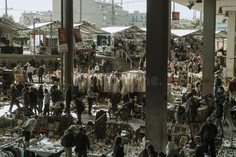 General view of the market of the enchant in Barcelona. View of the market of the enchant in Barcelona royalty free stock photos